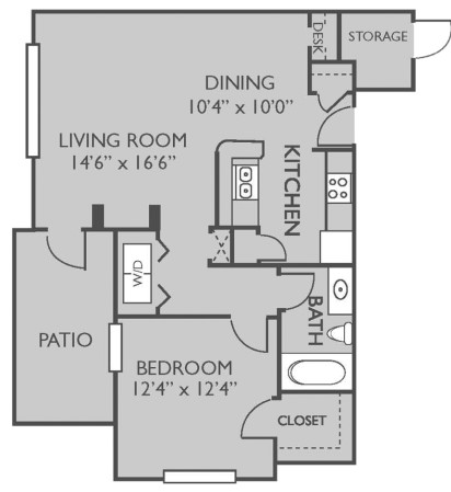 738 sq. ft. PALM SPRING floor plan