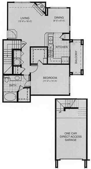 849 sq. ft. MONTREAUX floor plan