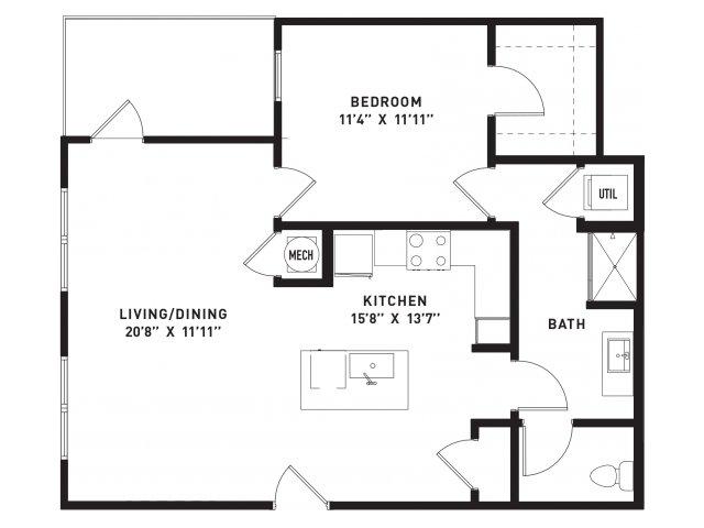 838 sq. ft. A15 floor plan