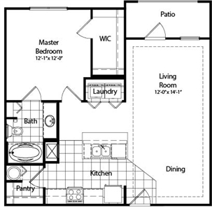 859 sq. ft. A4 floor plan