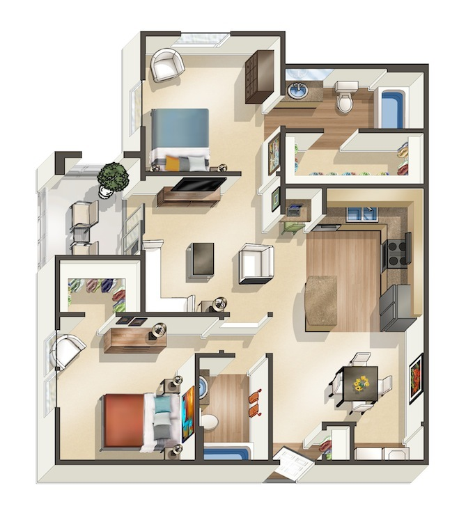 1,025 sq. ft. Ohana floor plan