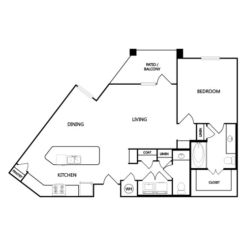 921 sq. ft. A7 floor plan