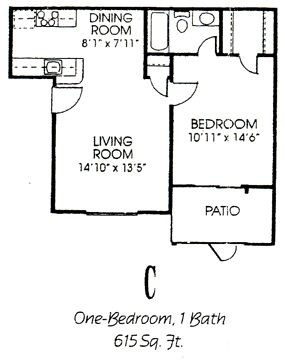 615 sq. ft. C floor plan
