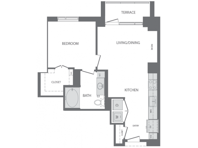 740 sq. ft. to 782 sq. ft. B floor plan