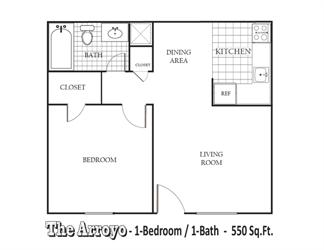 550 sq. ft. A Upgraded floor plan