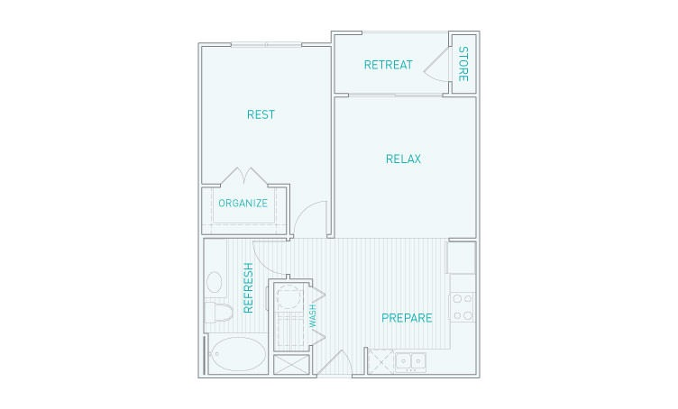 625 sq. ft. A2 floor plan