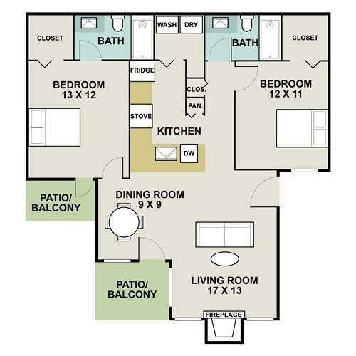 1,050 sq. ft. 2B floor plan