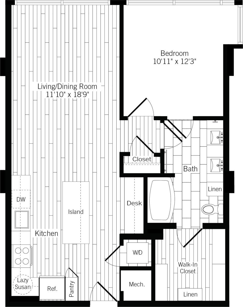 827 sq. ft. 1G floor plan