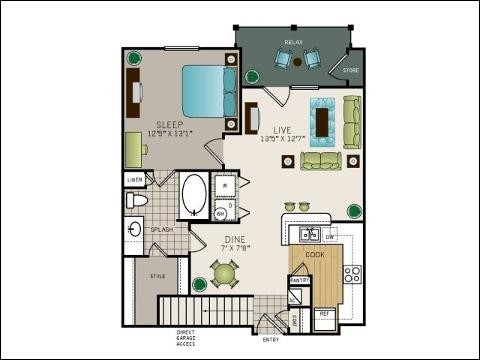749 sq. ft. to 783 sq. ft. A2 floor plan