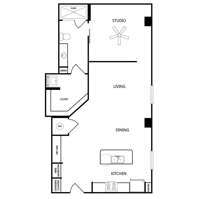 895 sq. ft. S3 floor plan