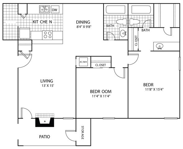 973 sq. ft. B2 floor plan