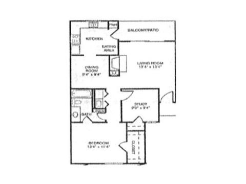 865 sq. ft. A3 floor plan