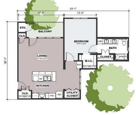 881 sq. ft. Hamilton/Mkt floor plan