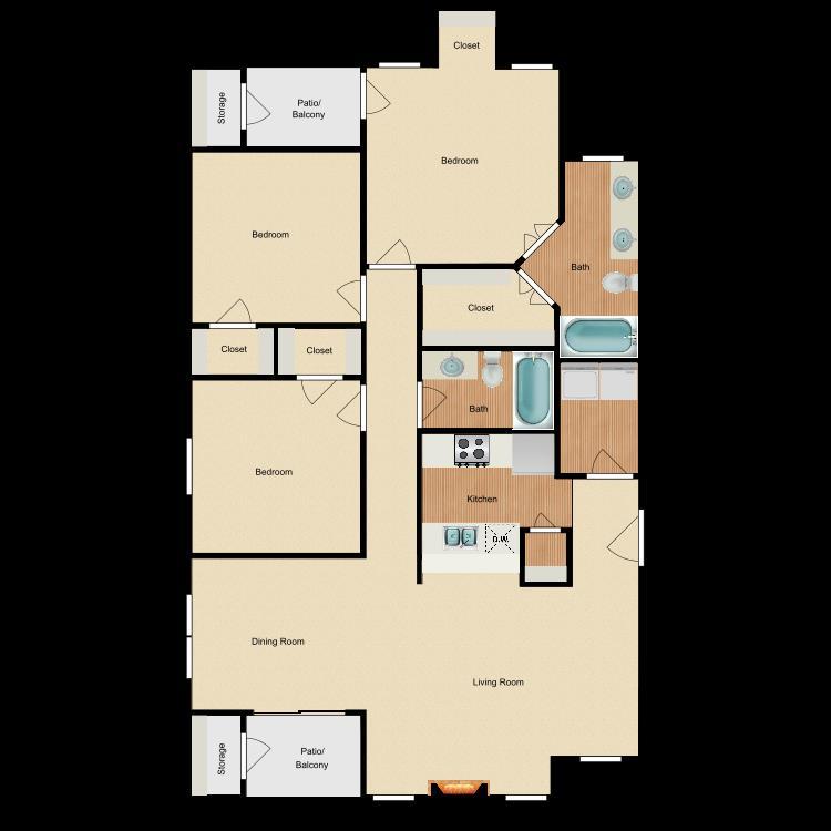 1,361 sq. ft. C1 floor plan