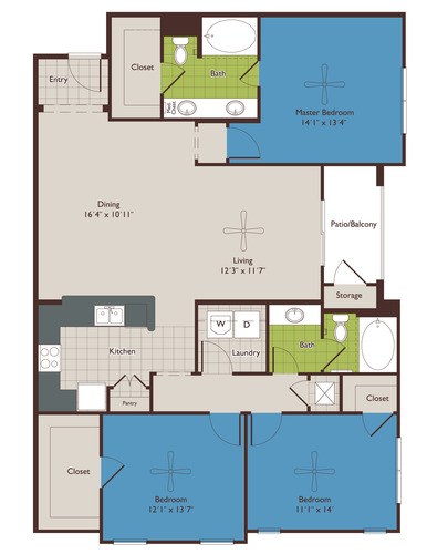 1,508 sq. ft. C1 floor plan