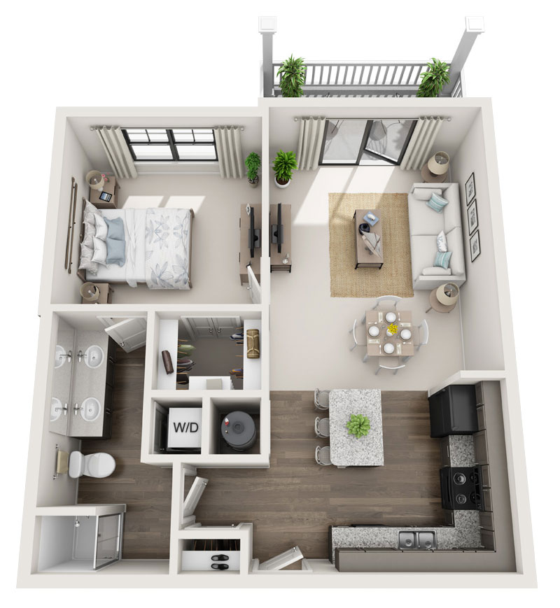 793 sq. ft. A1 floor plan
