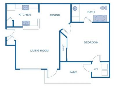 626 sq. ft. A floor plan