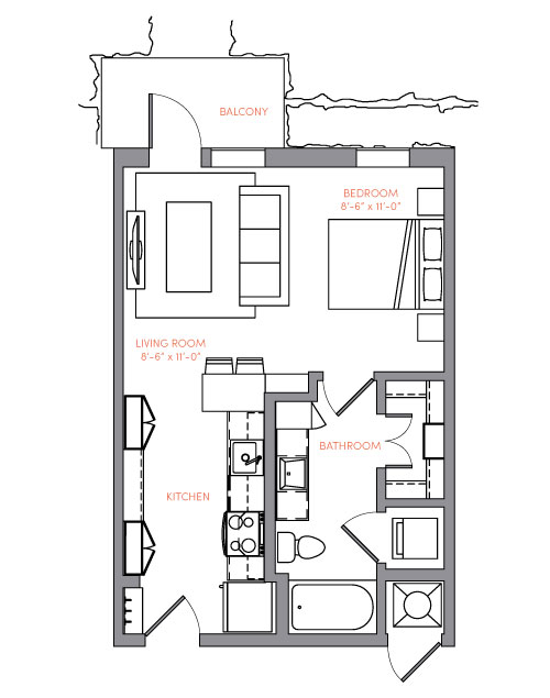 516 sq. ft. S1A.3 floor plan