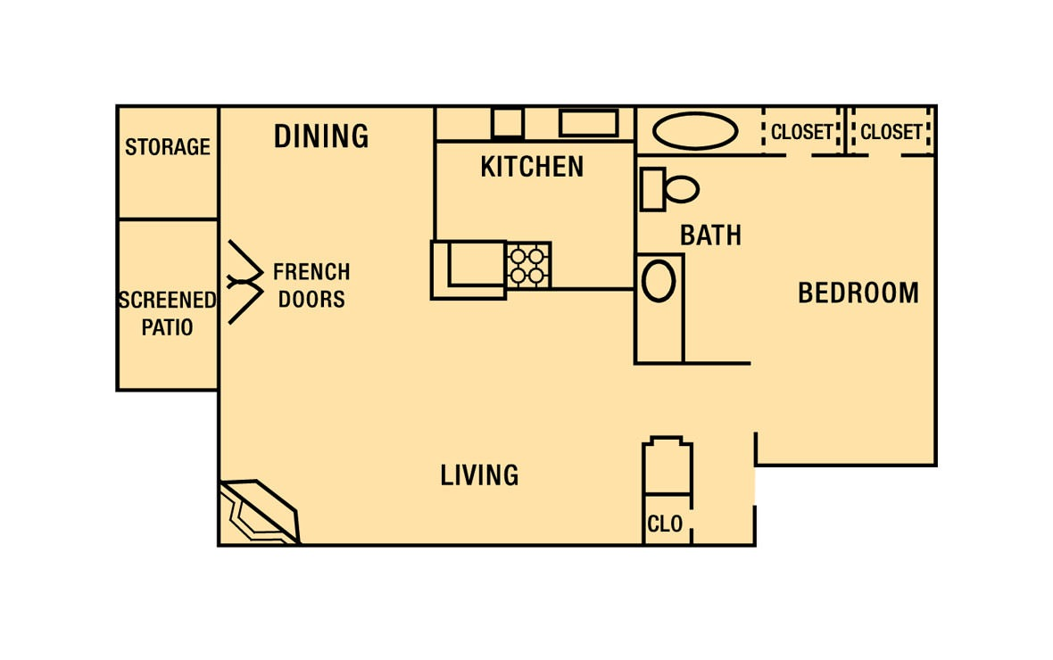 726 sq. ft. A2 floor plan
