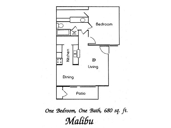 680 sq. ft. Malibu floor plan