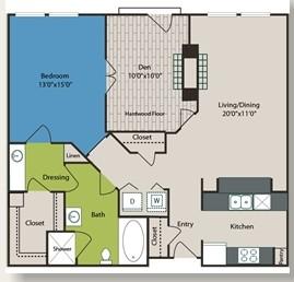 1,004 sq. ft. B1 floor plan