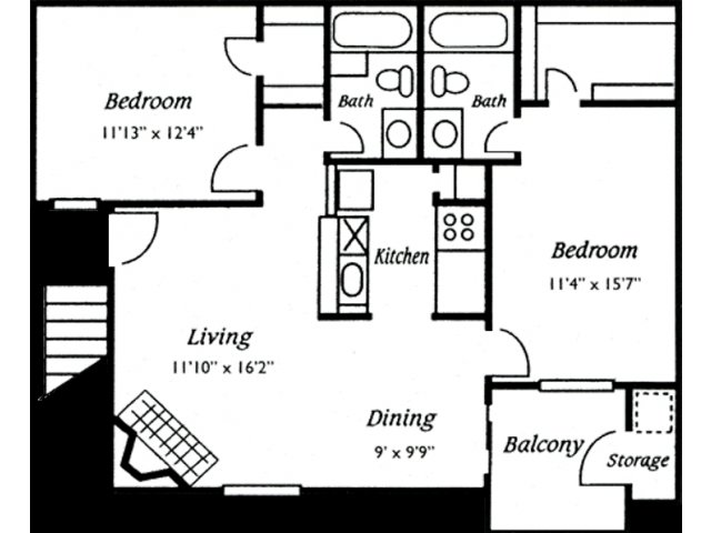 907 sq. ft. Del Mar floor plan