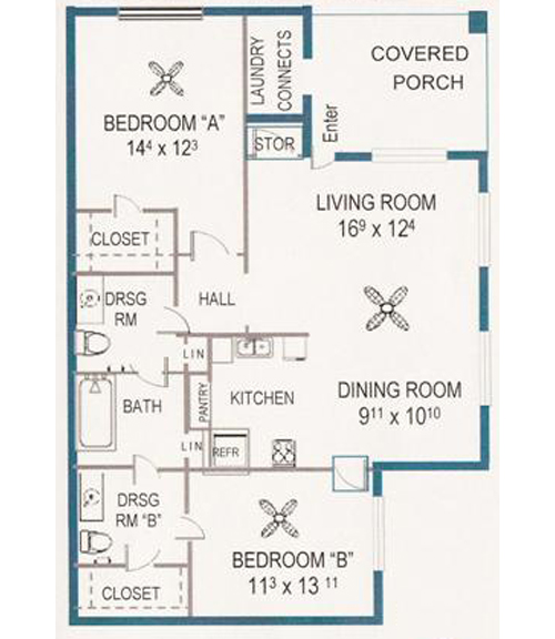 1,079 sq. ft. 60% floor plan