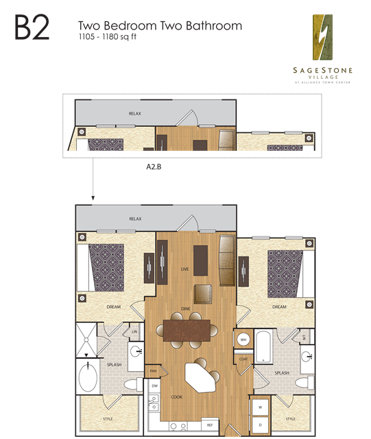 1,105 sq. ft. B2 floor plan