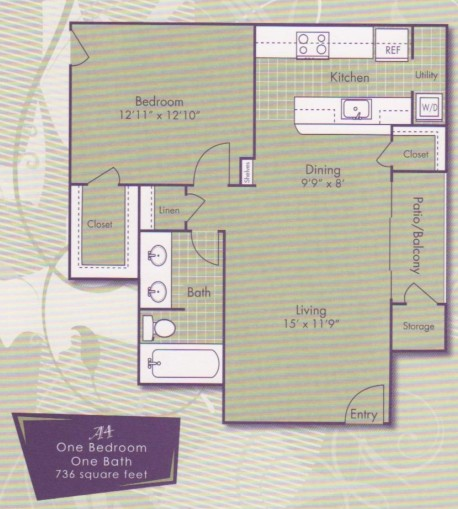 736 sq. ft. Michangelo floor plan
