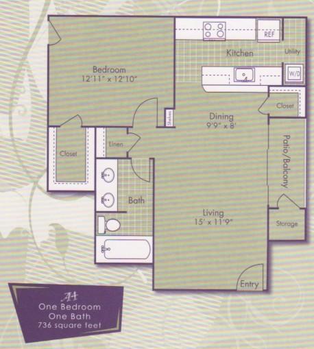 736 sq. ft. Michangelo floor plan