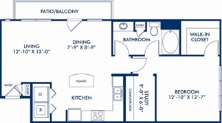 880 sq. ft. AS2 floor plan