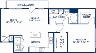 880 sq. ft. Whimsey floor plan