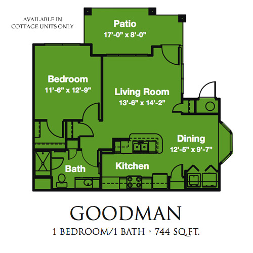 744 sq. ft. Goodman/50% floor plan