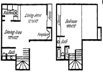 918 sq. ft. B floor plan