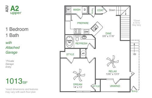 1,013 sq. ft. A2U floor plan