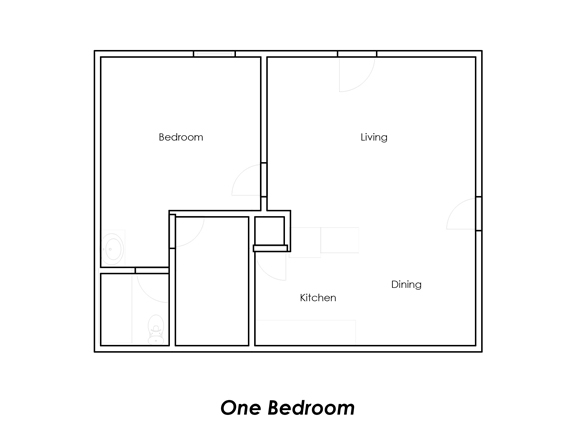 553 sq. ft. B1 floor plan