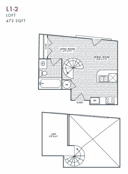473 sq. ft. L1-2 floor plan