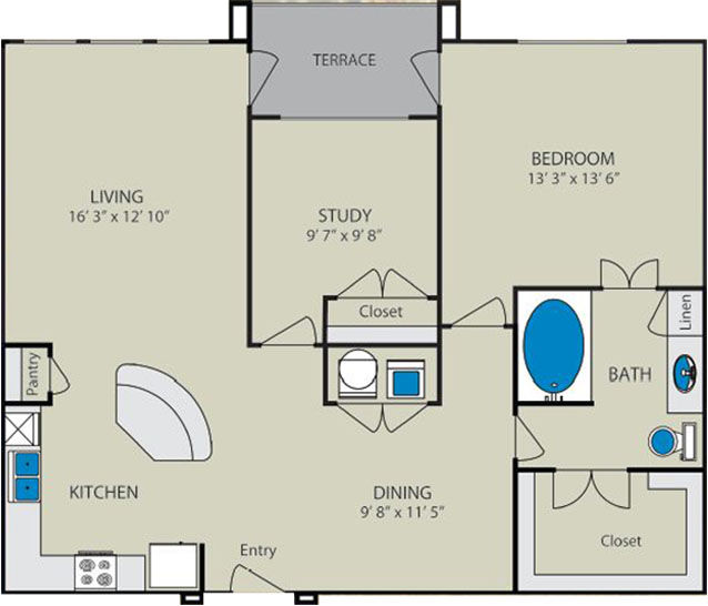 1,034 sq. ft. Blanco B1 floor plan