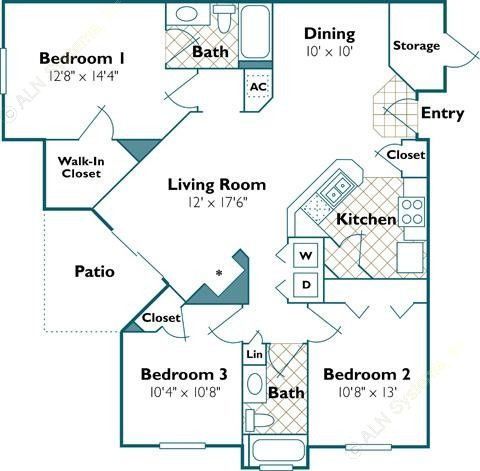 1,254 sq. ft. Flamingo floor plan