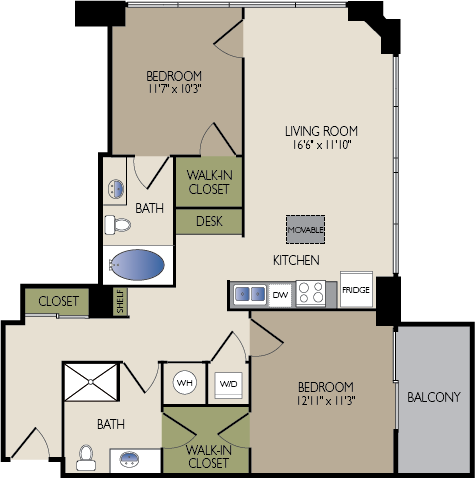 1,016 sq. ft. A1 floor plan