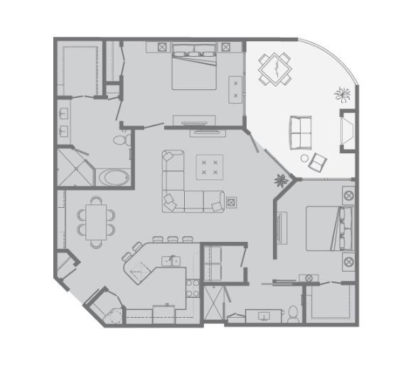 1,369 sq. ft. H floor plan