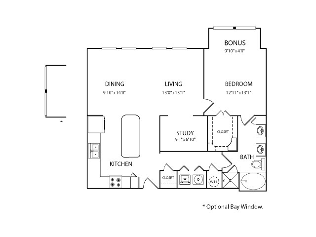 1,053 sq. ft. to 1,094 sq. ft. A3B floor plan