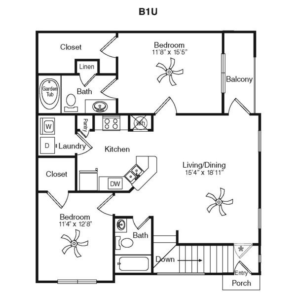 1,149 sq. ft. B2H-1G floor plan