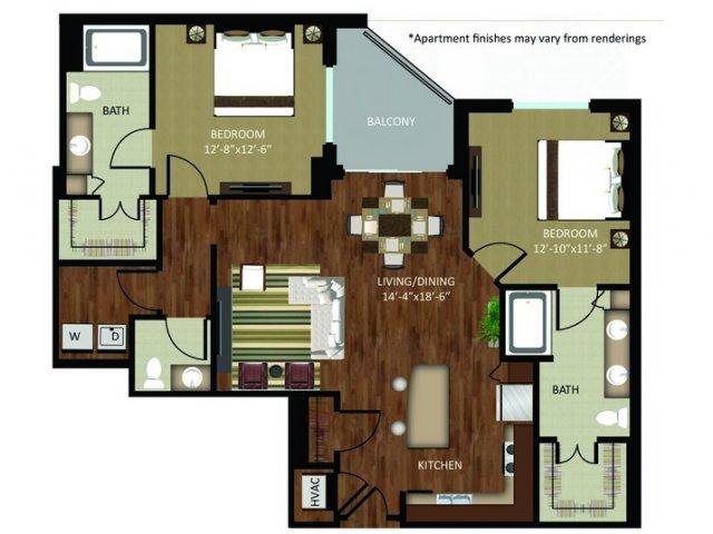 1,267 sq. ft. B2 floor plan