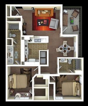 1,110 sq. ft. B1 floor plan