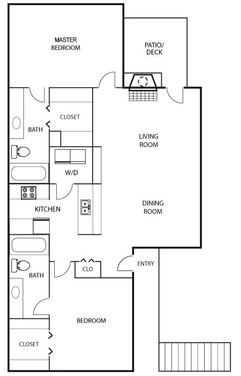 1,169 sq. ft. B2 floor plan