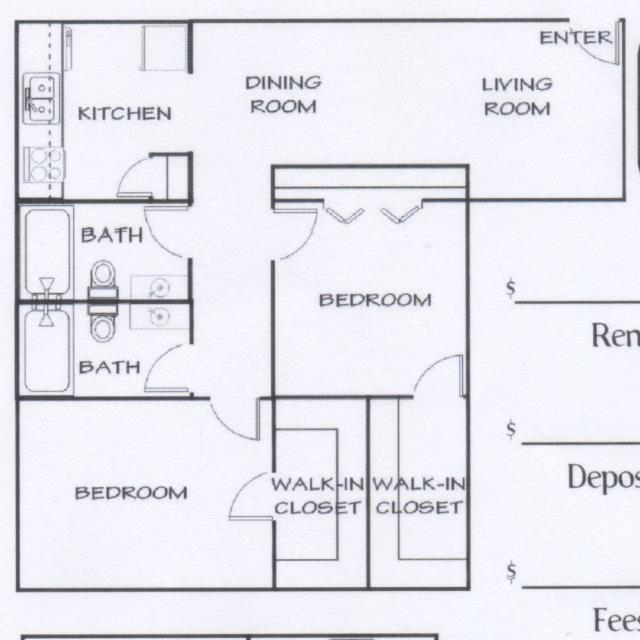 890 sq. ft. E floor plan