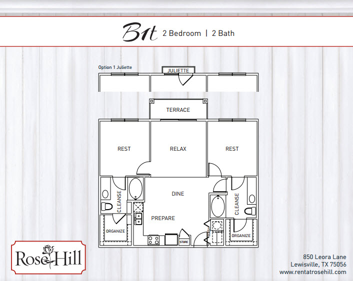 1,182 sq. ft. to 1,249 sq. ft. B2T floor plan