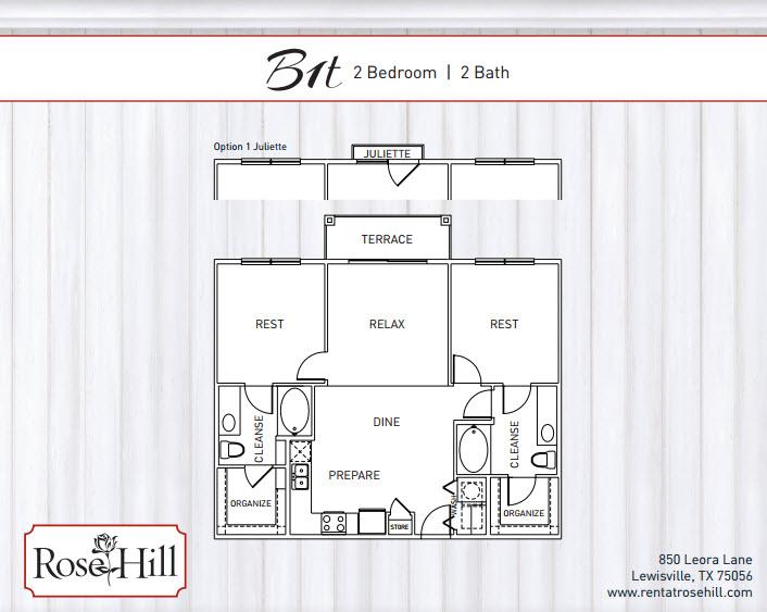 1,182 sq. ft. to 1,249 sq. ft. B2/B2J/B2T floor plan