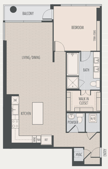 1,219 sq. ft. A6 floor plan